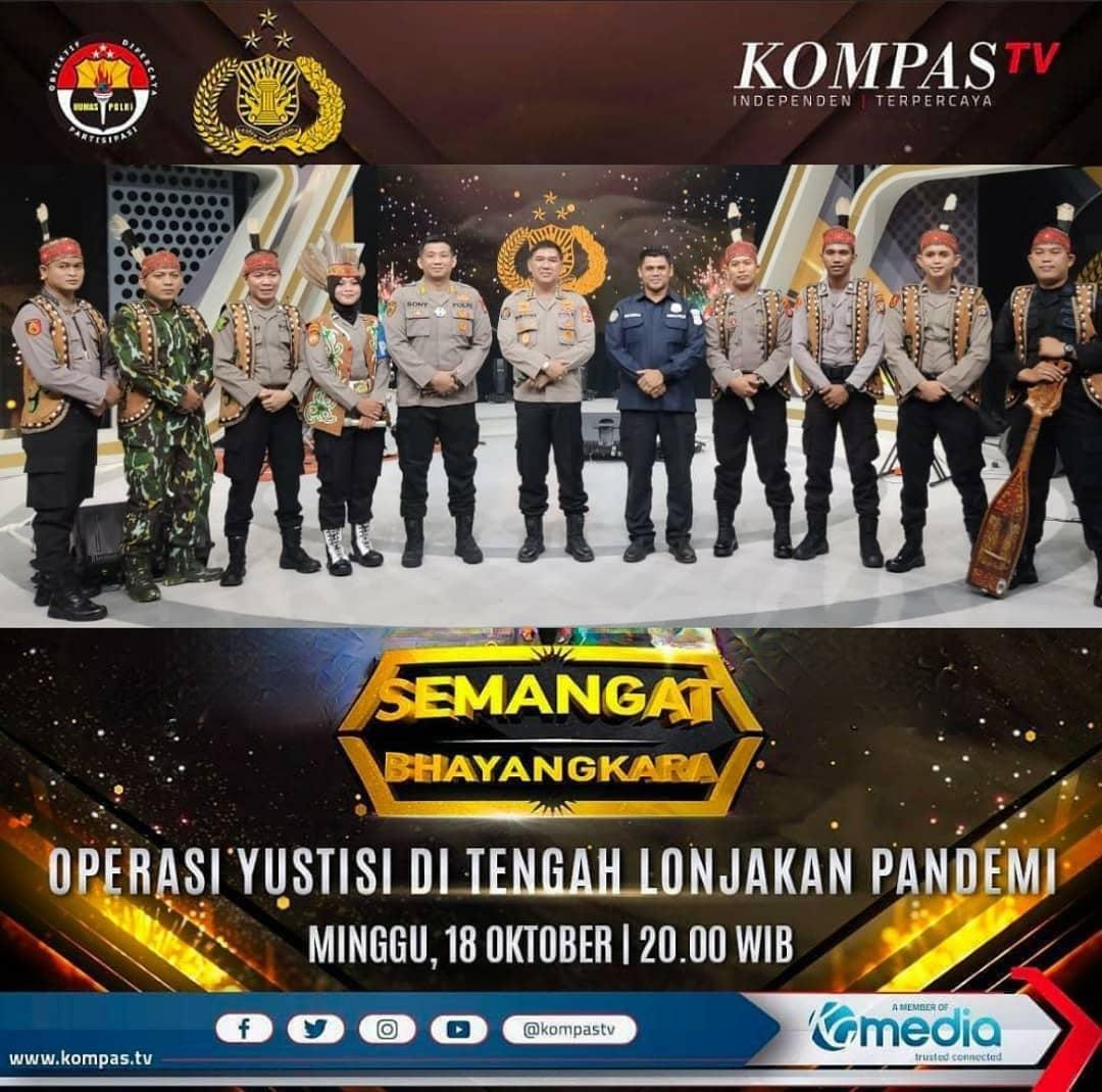 MERIAHKAN SEMANGAT BHAYANGKARA, TELABANG POLICE BAND POLDA KALTENG TAMPIL DI KOMPAS TV 1